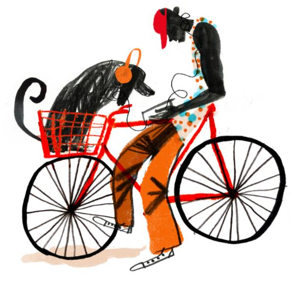 Man bicycle dog